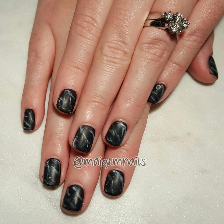 Matte black marble! @maigemnails