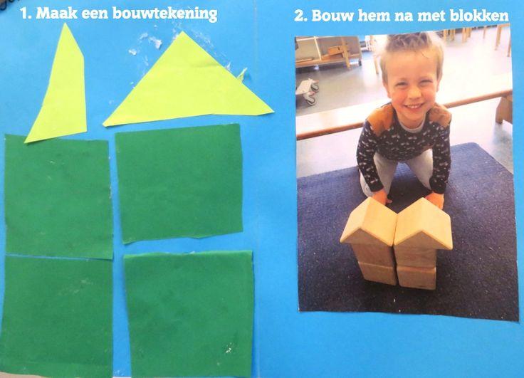 Maak een bouwtekening en maak hem na met blokken, thema 'wij bouwen een huis', kleuteridee.nl