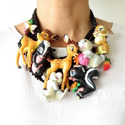 Bambi And Friends Cartoon Statement Necklace