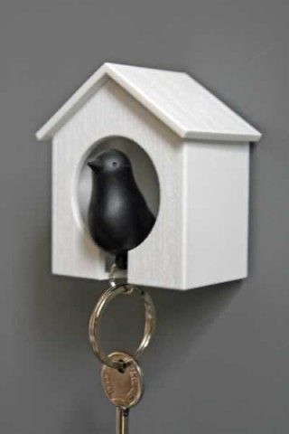 Black Bird Keyring and House Set