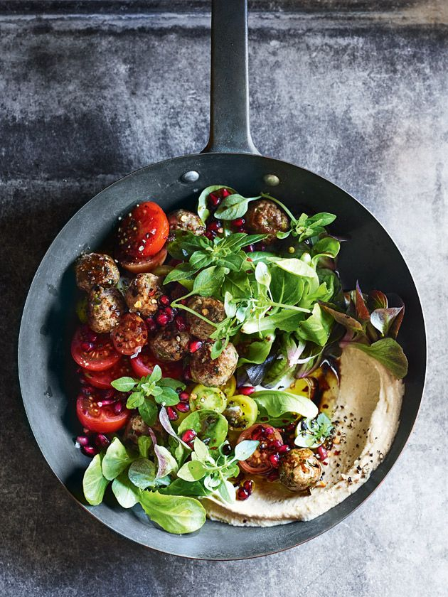The succulently seared lamb koftas is broken up with the fresh and tart flavours of the pomegranate to take this salad to a whole new level.