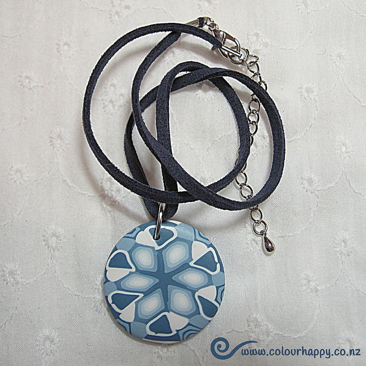 Denim blue and white. Handmade polymer clay pendant by Colour Happy / Adele