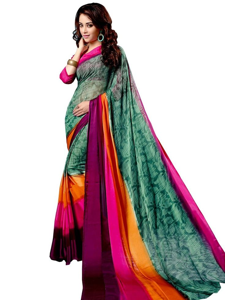 Beauteous multicolor saree invented on crepe fabric with abstract print is sure to make you look best.  Item Code: SUL14049 http://www.bharatplaza.com/new-arrivals/sarees.html