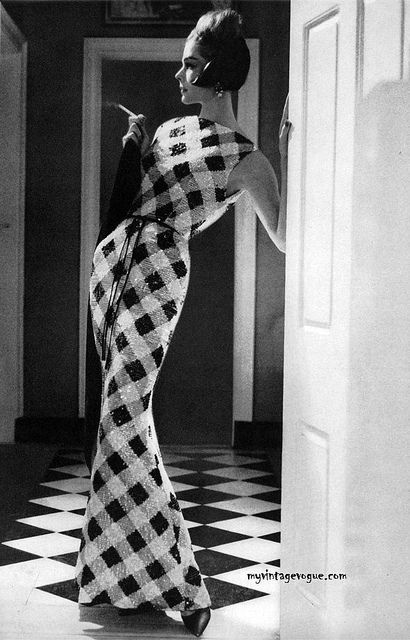 Sequined gingham Dress by Teal Traina. Harper's Bazaar Nov 1960 - Photo by Lillian Bassman.