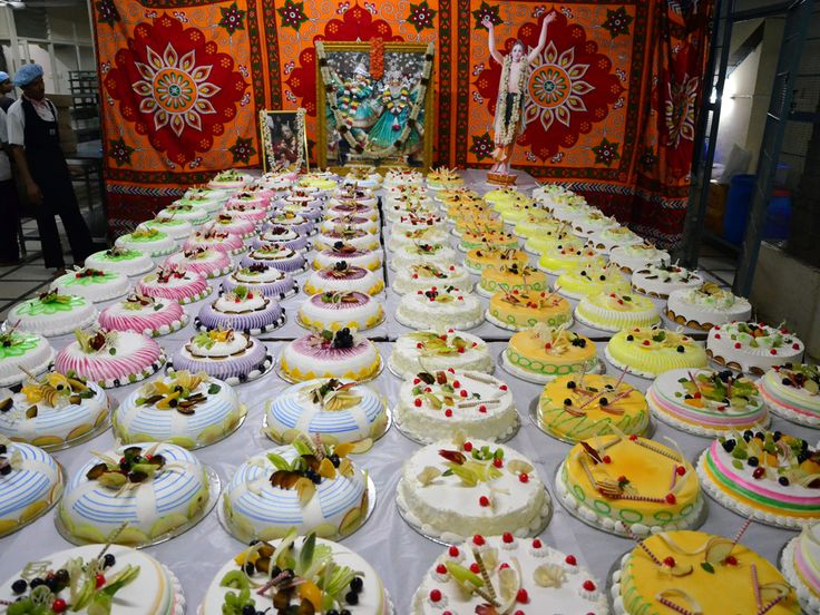 108 cakes offered to Srimati Radharani on her appearance Day