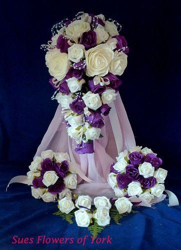WEDDING FLOWERS =FULL SET IN CADBURYS PURPLE AND IVORY