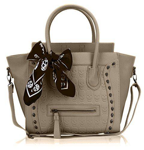 Miss Lulu Designer-Dame-Handtasche aus Leder mit Totenkopf Studded Satchel Handtasche Smile