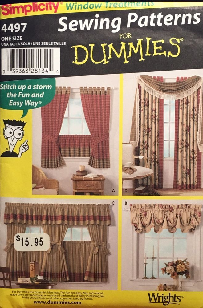Simplicity 4497 Pattern Sewing For Dummies Curtains Valance Swag Panels Uncut