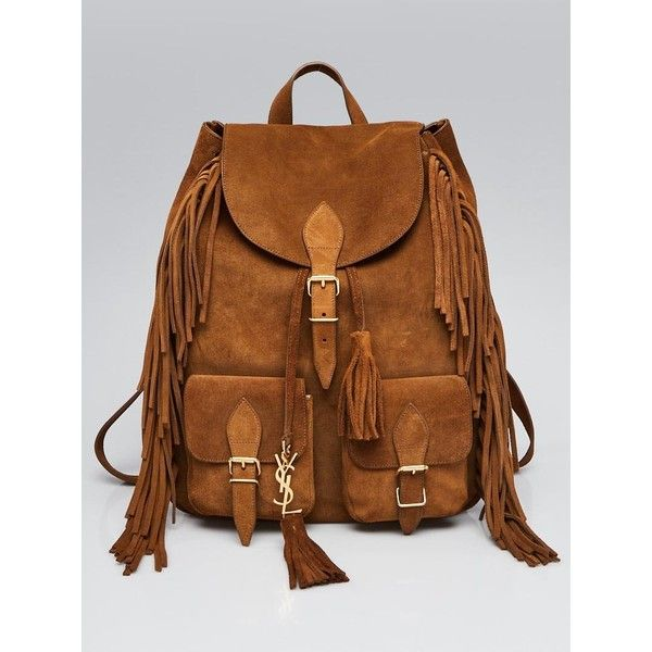 Pre-owned Yves Saint Laurent Brown Suede Fringe Festival Backpack Bag ($1,295) ❤ liked on Polyvore featuring bags, backpacks, draw string bag, travel backpack, tassel backpack, drawstring bags and drawstring backpack