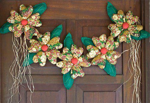 Varal de flores de tecido recheadas, como fazer esse enfeite de natal