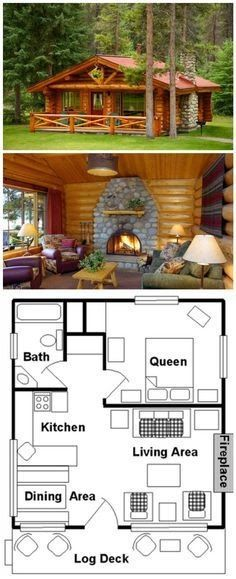 One bed log house and floor plan