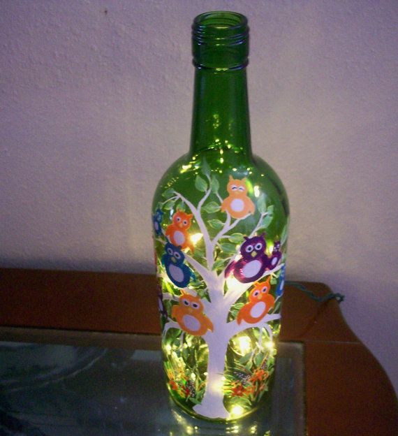 17 best images about glass bottles decorated on for How to paint glass bottles
