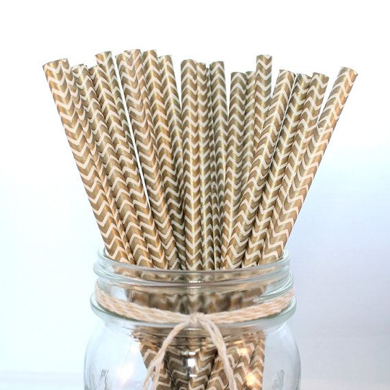 25 Gold Chevron Paper Straws, Anniversary, New Years, Christmas, Birthday by The Pretty Party Shoppe