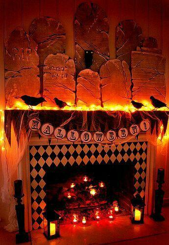 halloween fireplace display - Halloween Fireplace