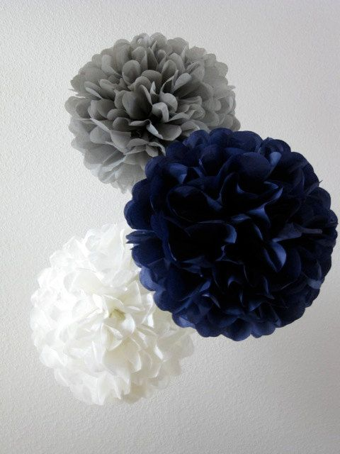 Tissue Paper Pom Pom Aqua by SweetandSavvyDesigns on Etsy