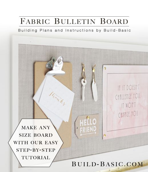 make this simple diy fabric bulletin board by covering inexpensive cork tiles see the full tutorial over at build basic