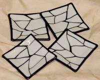 手机壳定制asics official site Fused Glass Square Dessert Plates  White on Black   x  Inches