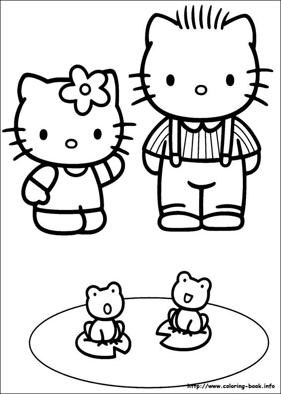 Hello Kitty Picture Taken Together Sister Coloring Pages Find This Pin And More