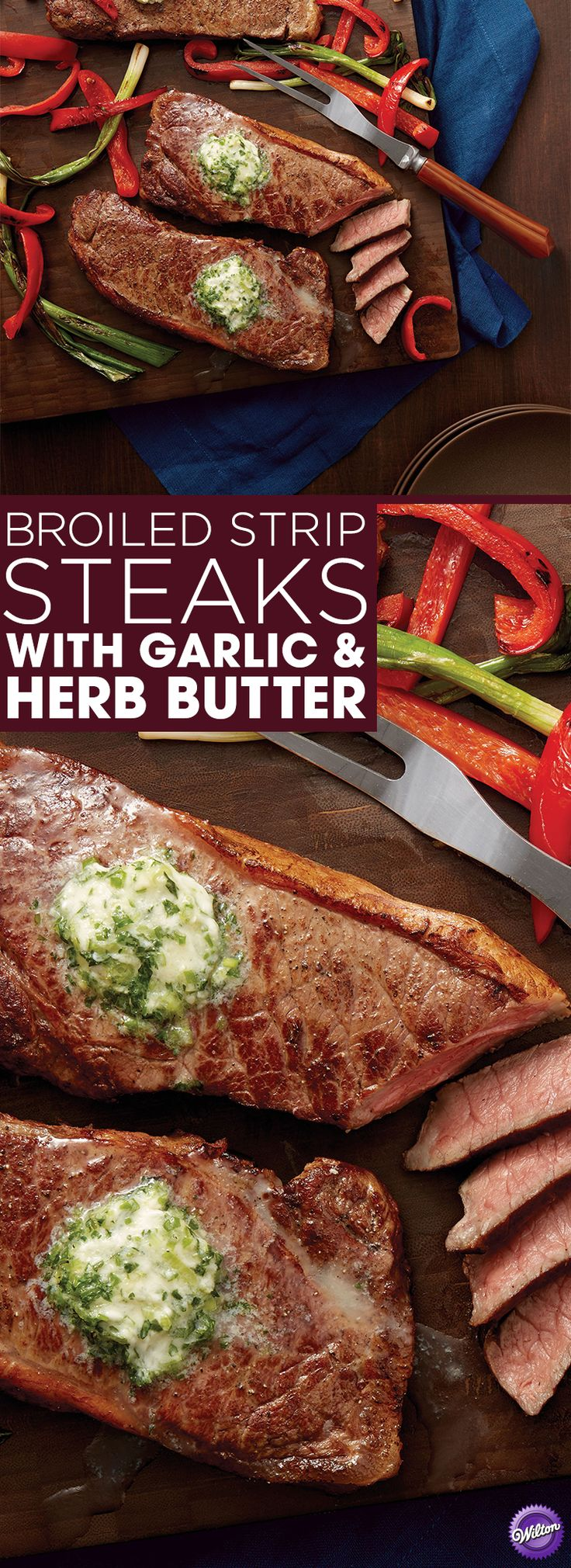 Broiled Strip Steaks Recipe - Learn how to make tender and juicy broiled strip steaks that's topped with garlic and herb butter. This is a delicious meal that any steak lover will enjoy!