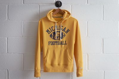 Tailgate Michigan Popover Hoodie by Don't Ask Why for American Eagle Outfitters | At a capacity of over 100k, the Wolverines play in the largest football stadium in the nation. Plus, they boast the most overall wins in NCAA history and won the very first Rose Bowl. Shop the Tailgate Michigan Popover Hoodie and check out more at AE.com.
