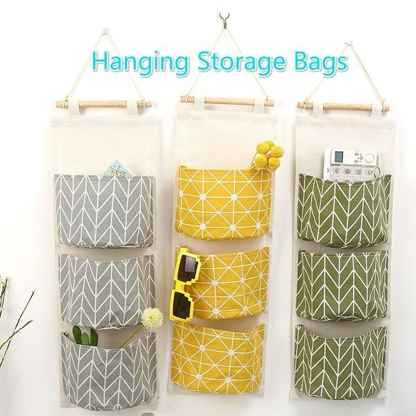 1 2 3 Grids Storage Bags Navy Fabric Cotton Linen Wall Hanging Storage Bag Sundries Organizer Toy Container Pouch Home Decor Wish Storage Bags Organization Wall Hanging Storage Bag Storage