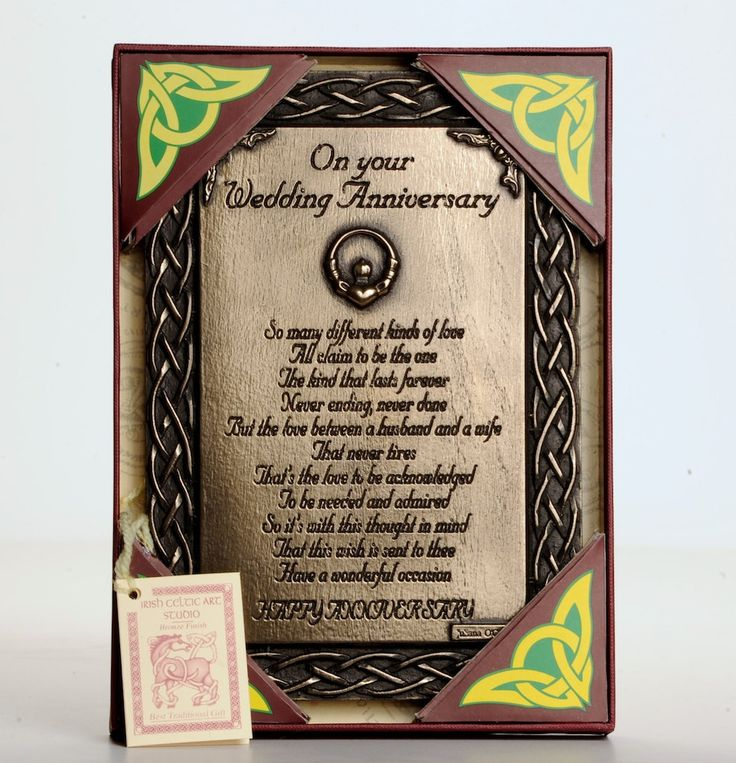 Wedding Anniversary Keepsake Gift Bronze Finished Plaque That Is Handmade In Ireland Comes Boxed