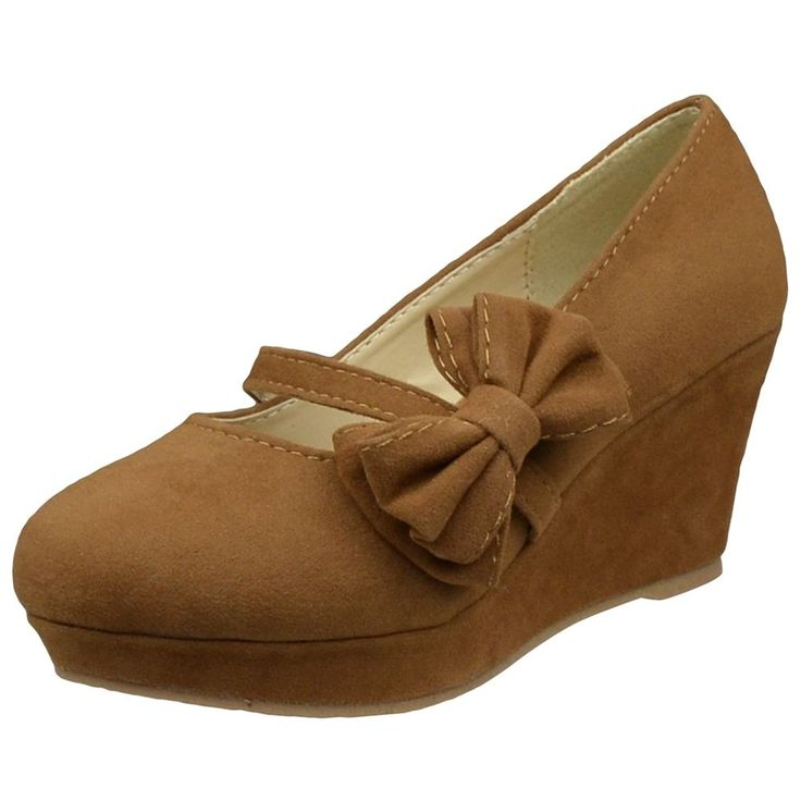 *too bad they're for kids. Kids Dress Shoes Platform Wedge Bow Accent Closed Toe Pumps Brown Girl Close Toe #DSByKSC #CasualShoes