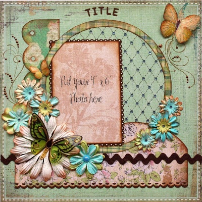 Pink and turquoise vintage flower page, so pretty and perfect for a vintage themed book!