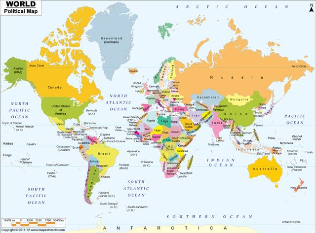 Political World Map With Countries