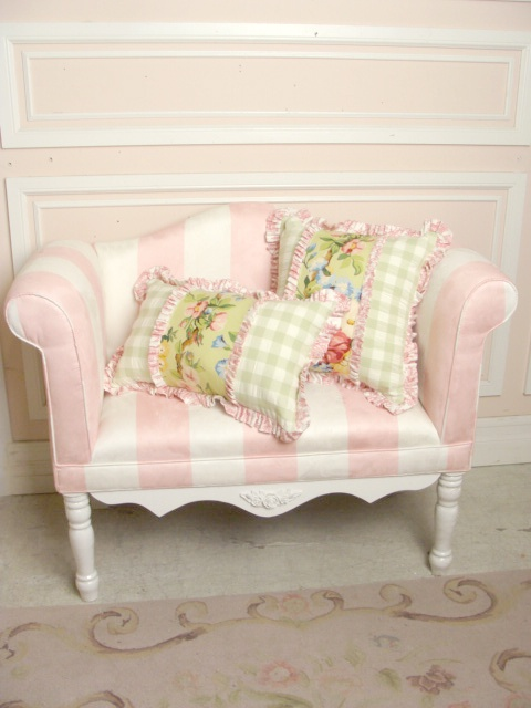miniature pink striped settee and pillows