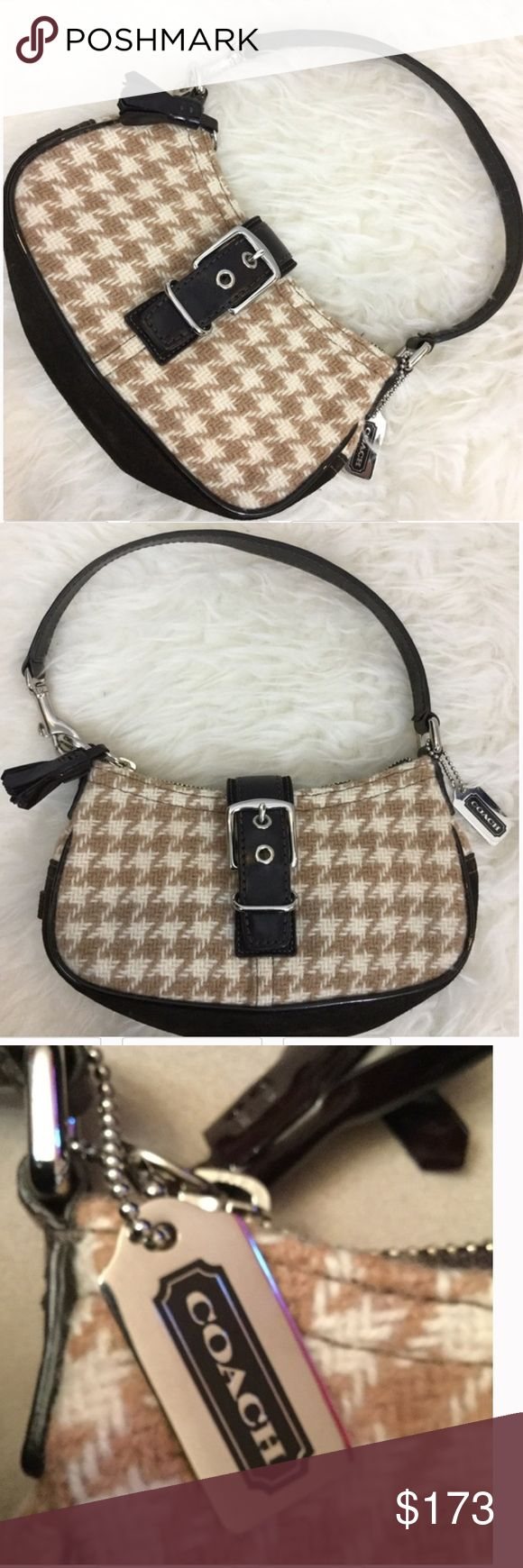 """COACH Small Tan Cream Shoulder Bag Handbag Purse Stunning Coach cream, tan and brown houndstooth purse. Suede and leather and a magnetic purse make this a fun purse for a night on the town. Approximate measurements: 9"""" long by 12"""" top of strap to base. Very nice pre-loved condition. Love this mini bag! Coach Bags Shoulder Bags"""