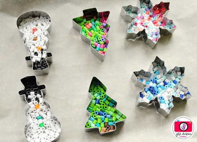 melted perler beads and holiday Christmas cookie cutters