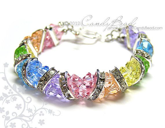 Swarovski Bracelet Sweet Rainbow Crystal Cuff by candybead on Etsy