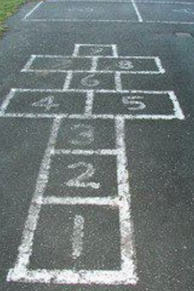 .hopscotch...we also jumped rope which was great exercise; made up little jingles as we jumped.
