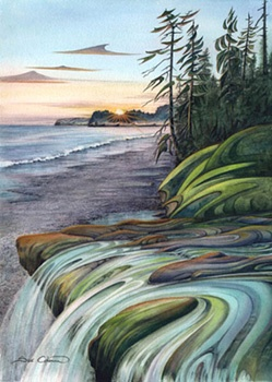 SandCut Beach. This piece is raising funds for The Land Conservancy  $100 goes to protect the beach.  Giclee Print $140.00 www.suecoleman.ca