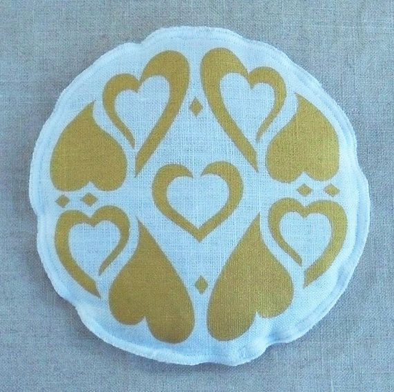Lavender sachet handmade gold hearts on white by TongueinChicHome, $8.00
