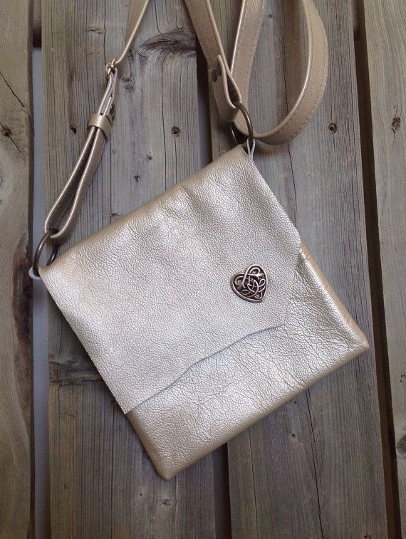 Metallic Silver Leather Side Bag with Raw Edge Flap & Celtic Heart Concho by HeartnSoulHandbags, $155.00