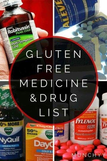 Gluten free medicine & drug list