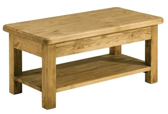 Table Basse Double Plateau Pin Cire 100 Cm Hannover Tables Basses