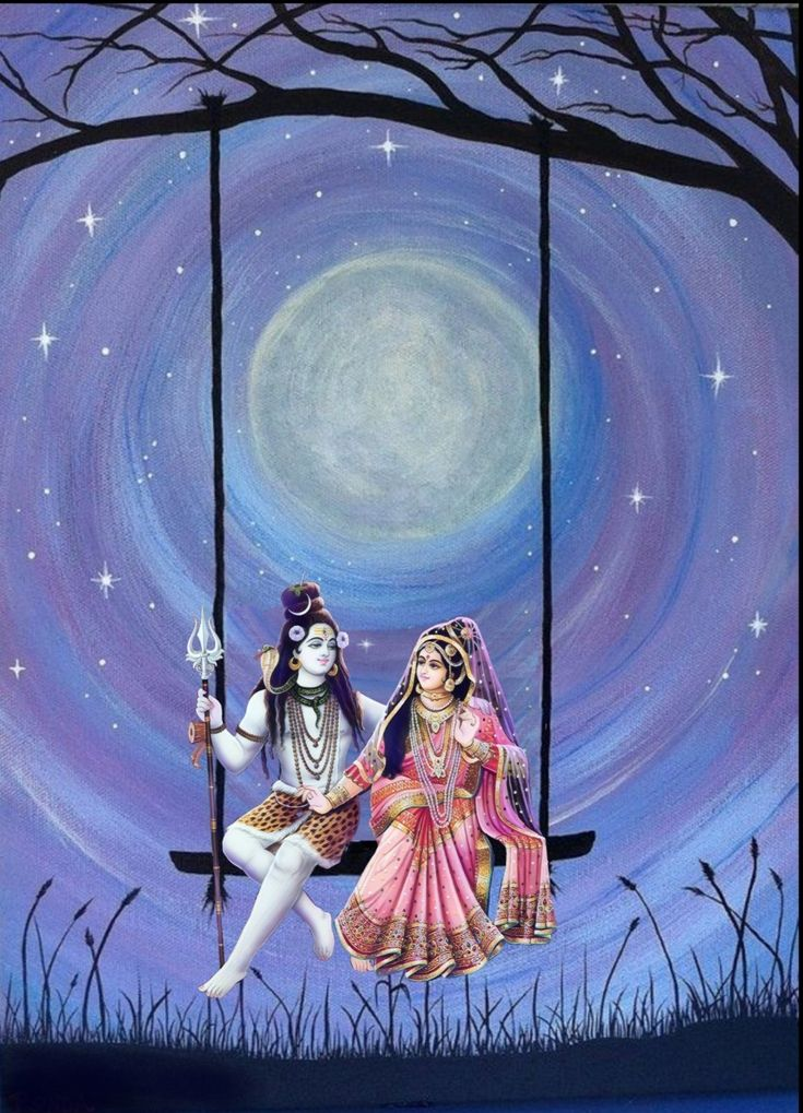Lord Shiva and Parvati having a swing in creative art painting