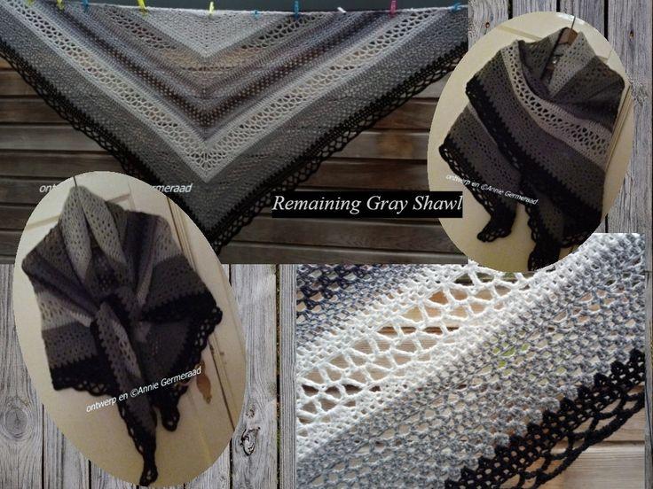 Remaining Gray Shawl Een eigen ontwerp van Annie G2 (van restjes garen met grijstinten)
