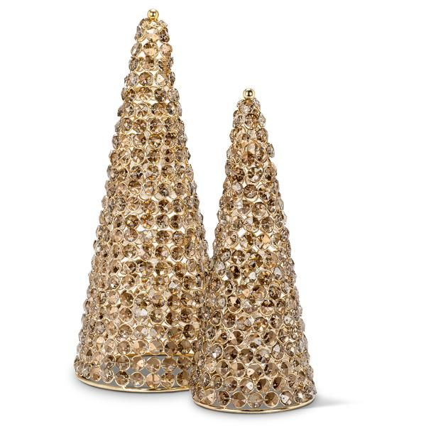 """16"""" or 13"""" Gold Plated Crystal Cone Tree"""