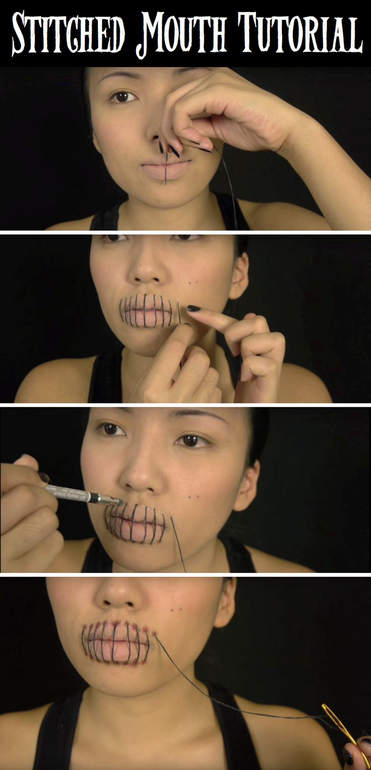 This Quick Stitched Mouth Halloween Makeup Is Not Worth Missing