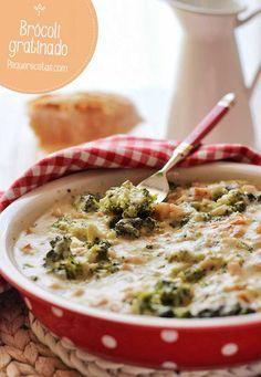 Receta de brócoli gratinado en salsa de queso
