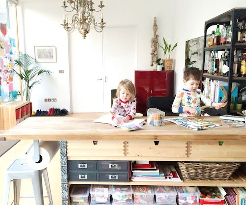 Love the craft table as a kitchen island/peninsula. Best home tour on Design Mom. Living With Kids: Maureen Vazquez