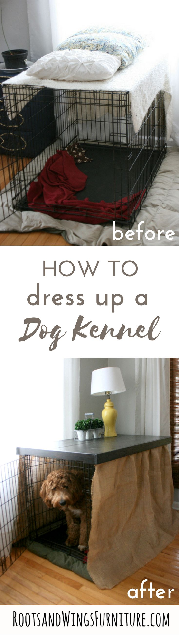 Make your dog kennel go with your home's style and decor a little more!  Build a table to hide the kennel!  DIY by Jenni of Roots and Wings Furniture.