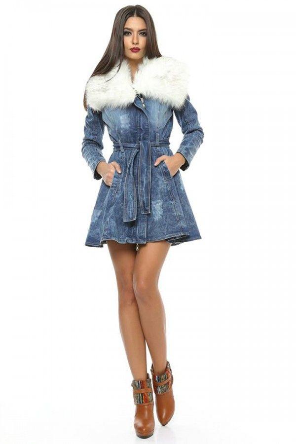 £: Giacca in denim - modello trench - pelo bianco - cintura con nodo - TRENCH & CAPPOTTI - Abbigliamento » Moda Mania