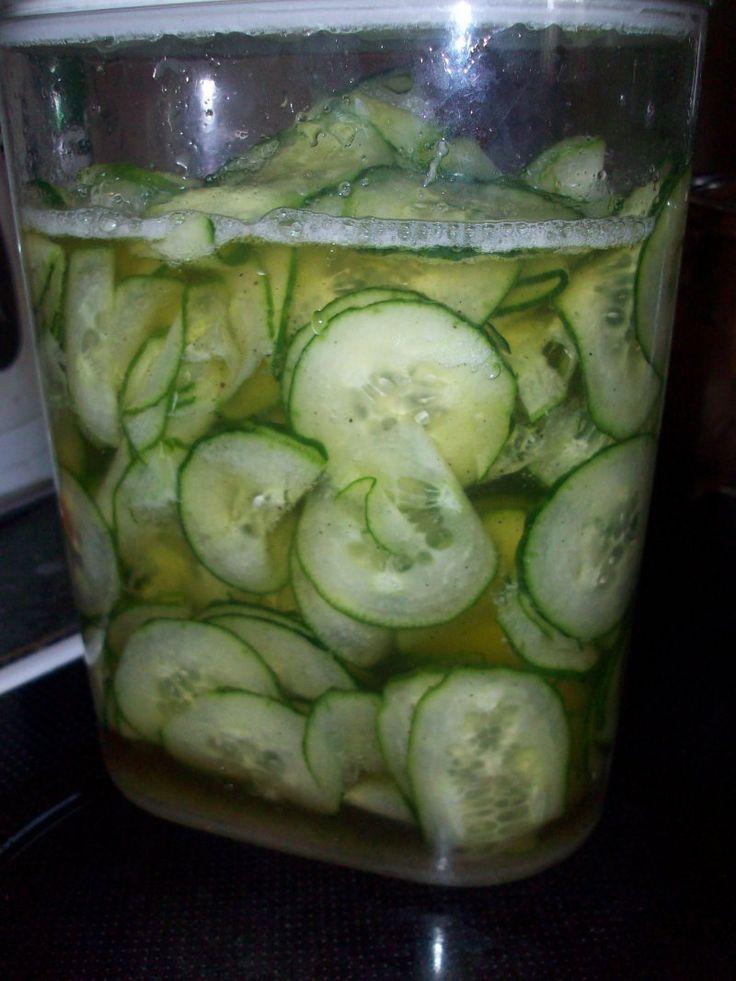 Danish cucumber salad - basically pickled cucumber.  Yum!!
