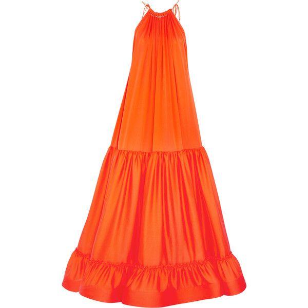 Stella McCartney Cassie tiered silk gown (£1,214) ❤ liked on Polyvore featuring bright orange, silk ball gown, orange dress, silk evening dresses, orange evening dresses and orange evening gown