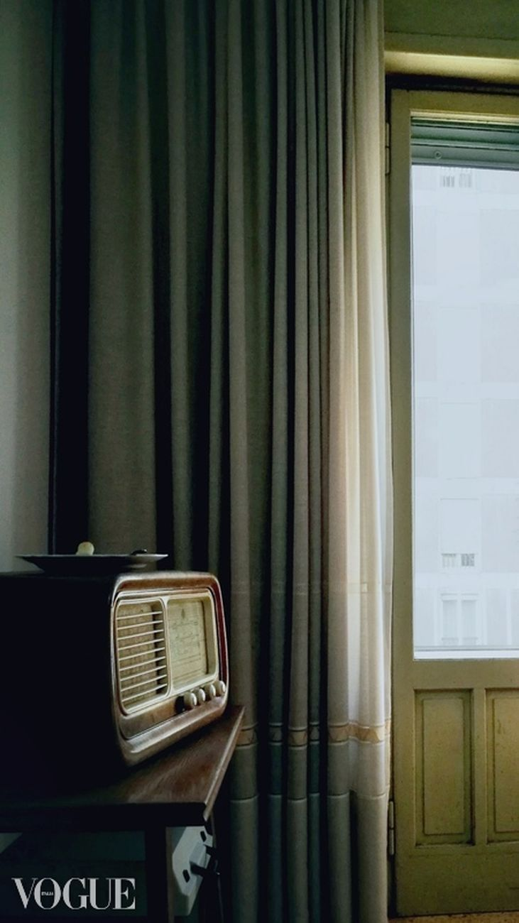 curtain, indoors, no people, communication, old-fashioned, retro styled, technology, music, close-up, day